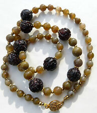 Antique Carved Chinese Garnet Beads and Antique Agate Beads Necklace, OOAK