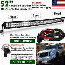 52INCH 300W LED CURVED WORK LIGHT BAR FLOOD SPOT COMBO DRIVING OFFROAD 4WD 50 20