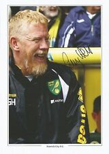 A 12 x 8 inch photocard personally signed by Gary Holt of Norwich City.