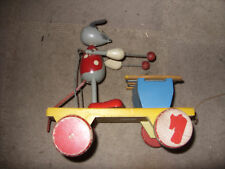 EARLY DISNEY MICKEY MOUSE PULL ALONG WOODEN TOY PLAYING XYLOPHONE WOODEN WHEELS