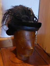 Ladies' 19th Century Black Woven & Velvet Bonnet Hat - Embellished with Feathers