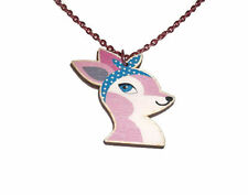 Pink Deer Necklace, Pastel Pink Rockabilly Cute Wooden Pendant Laser Cut