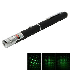 Powerful 1mw 532nm Star Pattern Laser Pointer Pen Green Light Naked Black New