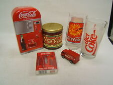 Lot of 6 Different Coca Cola Collectibles 2 Glasses 2 Tins 1 Deck Cards 1 Truck