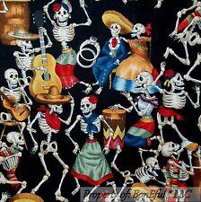 BonEful Fabric FQ Cotton Quilt VTG Black White B&W Skeleton Skull Head Dance Bar