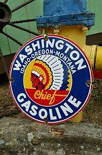 WASHINGTON CHIEF GASOLINE porcelain sign indian vintage petrolium pump plate