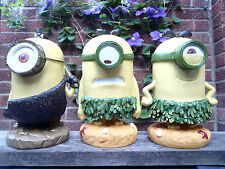 SET OF 3 X 250mm MINION GARDEN OR INDOOR GNOMES-ORNAMENTS-STATUES.******