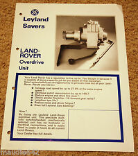 RARE Land Rover Series FAIREY Overdrive Leaflet Brochure