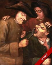 OLD SCHOOL DENTISTRY DENTIST PULLING A TOOTH PAINTING ART REAL CANVAS PRINT