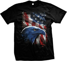 USA Bald Eagle Red White And Blue Stripes American Pride Mens T-shirt