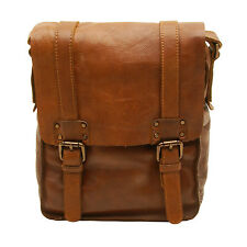 Ashwood - Tan Shoreditch Flap Over Messenger Bag in Cowhide Leather
