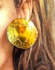 ~WOW! VTG Yves Saint Laurent YSL Paris Hearts Gold Plated Button EARRINGS Signed