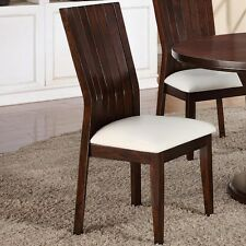 SET OF 2 KITCHEN DINNING CHAIRS WITH WHITE FAUX LEATHER SEATING