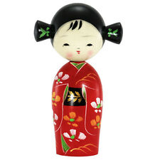"Japanese Kokeshi Wooden Doll 6.25""H Red Floral Kimono Girl W/Pigtails/Made Japan"