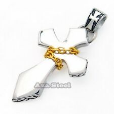 Men's Silver Gold Chain Stainless Steel Cross Pendant with Chain Necklace