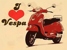 ILLUSTRATION TRANSPORT SCOOTER MOPED LOVE RED POSTER ART PRINT VE101A