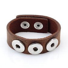 Leder ARMBAND für Chunks Chunk Click Button Druckknopf (18-22 cm) Braun #4102