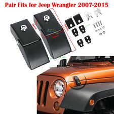 Pair For 07-2015 Jeep Wrangler & Unlimited Steel Locking Hood Lock Latches Black