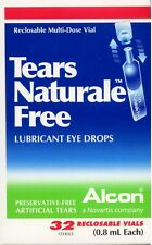 NEW! Alcon Tears Naturale FREE Lubricant Eye Drops-32 Vials (0.8mL Each) per Box