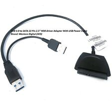 "USB 3.0 to SATA 22 Pin 2.5"" HDD Driver Adapter With USB Power Cable"