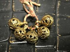 Qing Dynasty Antique Chinese Brass Court Robe Buttons, Set of 5 With Shanks