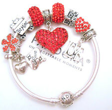 Authentic Pandora Silver Bangle Charm Bracelet With Red Heart European Charms.