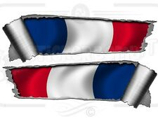 Pair of Rolled Back Ripped torn Metal Effect French Flag   Vinyl Car Stickers