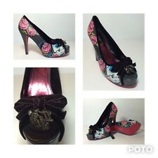 Iron Fist Sugar Skull Rockabilly Sugar Witch Pin Up Peep Toe Platform Pumps 7