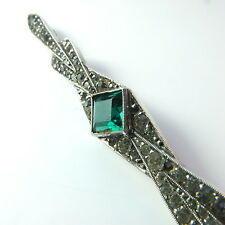 Antique Art Deco French Silver Paste Large Bar Brooch Emerald & Diamond Paste