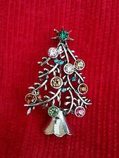 Stunning Diamonte Silver Plated Vintage Look Christmas Tree Brooch Cake Pin