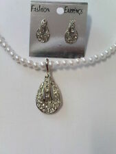 white pearl necklace & earring set with diamante pendant