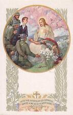 A9649) WW1, GESU' CON IL SACRO CUORE CIRCONDATO DA SOLDATI IN PREGHIERA.