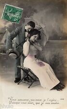 BK795 Carte postale Photo vintage card RPPC couple fantaisie amour parapluie