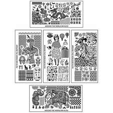 BMC 5pc Internationally Themed Nail Stamping Plates: Around the World Master Set