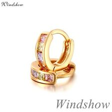 Four Color Princess Cut CZ Paved 18K Gold GF Huggie Hoop Earrings Kids Jewellery