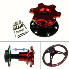 Car Steering Wheel 6 Hole Quick Release HUB Adapter Snap Off Boss Kit Red