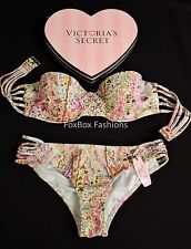 32A / XS - VICTORIA'S SECRET Swim Push Up Bandeau Bikini Set Paisley Macrame