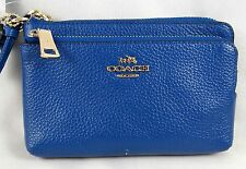 COACH PEBBLED DENIM LEATHER DOUBLE ZIP WRISTLET 52900
