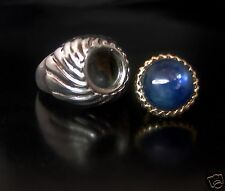 Snuff Ring Secret Box Unisex With Kyanite chakra Stone Gorgeous 12 mm Handmade