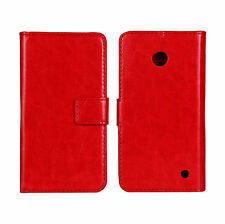 Red Genuine Leather Wallet Card Case Cover Stand For Nokia Lumia 630/635 LTE 4G