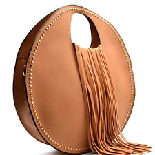 Handbag REPUBLIC® Fashion Inspired, Fringed Round Satchel w/ Strap- Camel