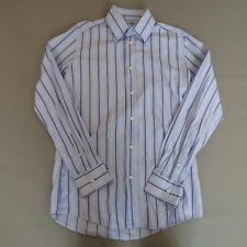 "Mens DOLCE & GABBANA Blue Striped Cotton Long Sleeved Shirt 16.5"" Large #E1086"