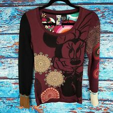 Desigual Disney Collectible Mickey Minnie Sweater Top Shirt Long Sleeve Burgundy