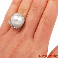 Vintage Diamond Mabe Pearl 14K White Gold Ring 6.7 Grams NR
