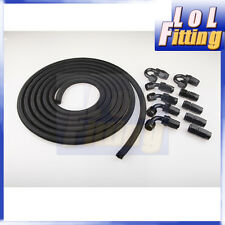 AN10 -10AN Nylon Braided Oil / Fuel Hose + Fitting Hose End Adaptor Kit Black