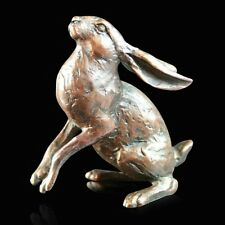 Small Hare Moon Gazing Solid Bronze Foundry Cast Sculpture Michael Simpson 914