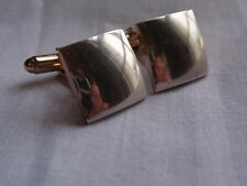 VINTAGE QUALITY PAIR PLAIN 925 SILVER PLATED SQUARE CUFFLINKS