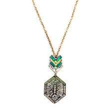 New Stackable Arrow Shaped and Hollow Hex Art Deco Long Pendant Necklace Mosaic