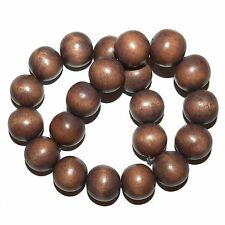 """W491f Mocha Rose Brown Large 20mm Smooth Round Ball Wood Beads 16"""" Strand"""