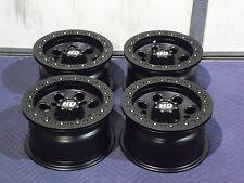 "12"" POLARIS RZR 570 BEADLOCK BLACK ATV WHEELS NEW SET 4 - LIFETIME WARRANTY"